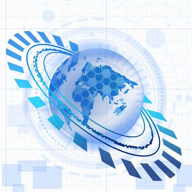 蓝色地球和多边形科技风格装饰234135图片素材