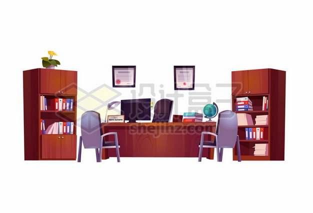 书柜办公桌老板桌和座椅等办公室卡通家具796078eps矢量图片素材