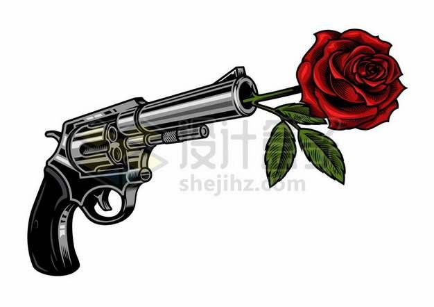 手枪枪管中插上红色玫瑰花348687eps矢量图片素材