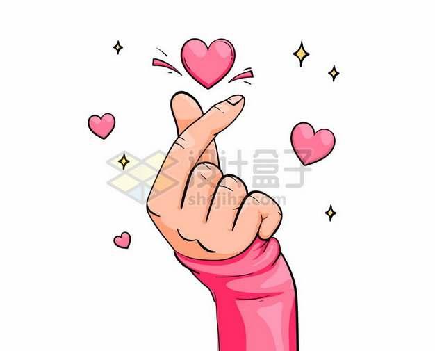 大拇指食指单手比心手势和红心图案手绘插画712778矢量图片免抠素材