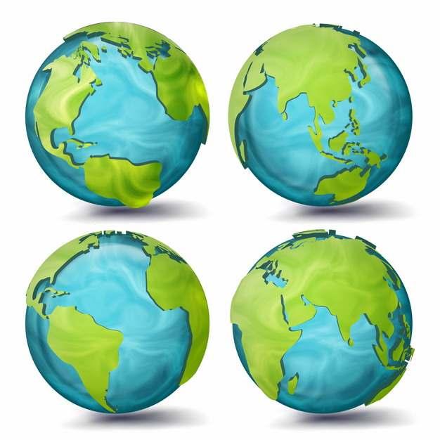 4个不同角度的蓝色绿色地球模型233900png图片素材