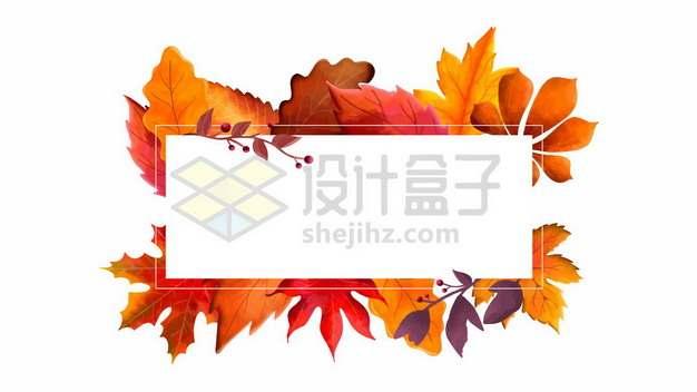 秋天火红的枫叶树叶组成的长方形文本框标题框577483图片免抠矢量素材