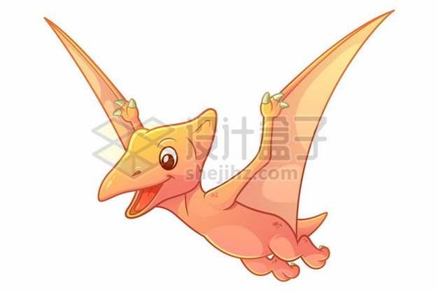 一只可爱的粉色卡通翼龙灭绝恐龙910520图片免抠矢量素材
