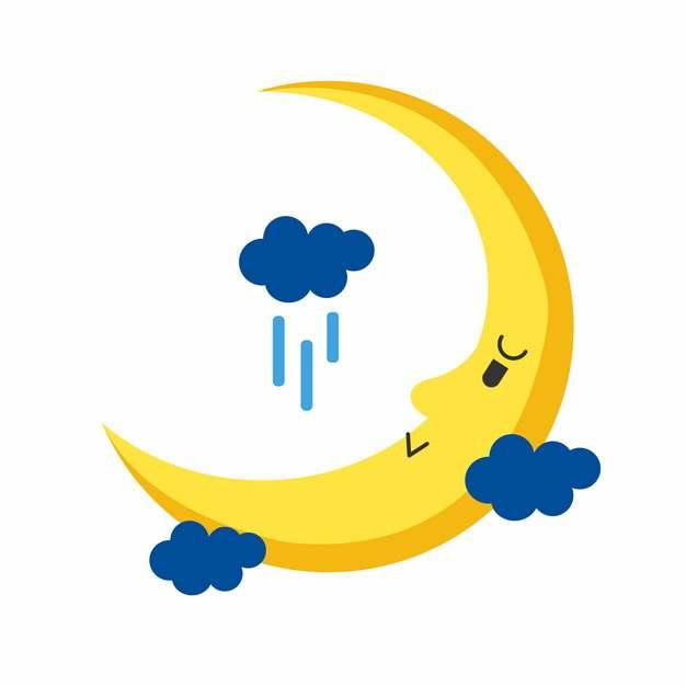 蓝色云朵和黄色卡通月亮弯月419306png图片素材