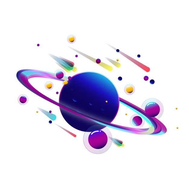 抽象紫色外星球自带光环图片免抠素材793311