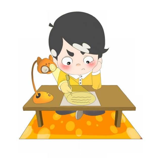 深夜挑灯夜读的小男孩认真学习看书做作业818992图片素材