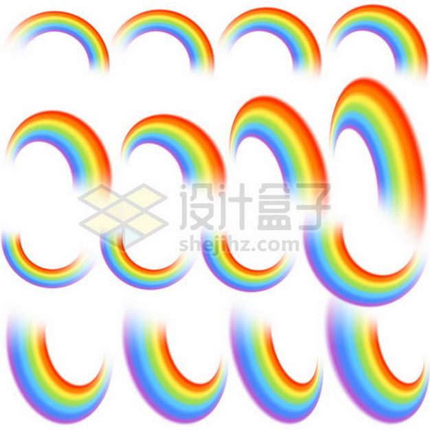 16个不同角度的七彩虹圆环图案117420矢量图片免抠素材
