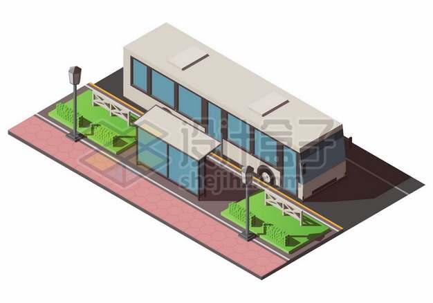 3D风格停靠在公交站台的公交汽车我的世界风格926342图片免抠矢量素材