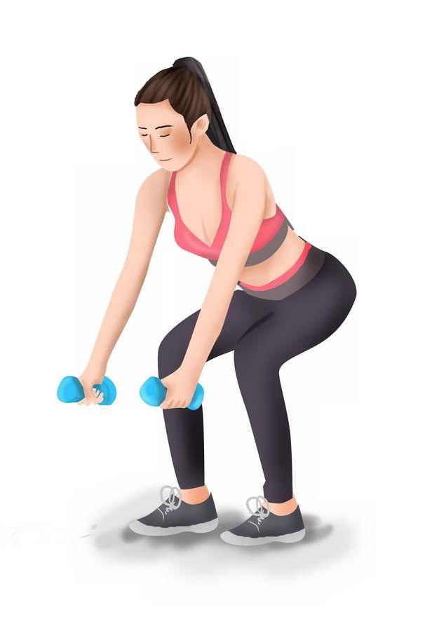 拎哑铃练习深蹲的手绘美女健身插画247311png图片素材