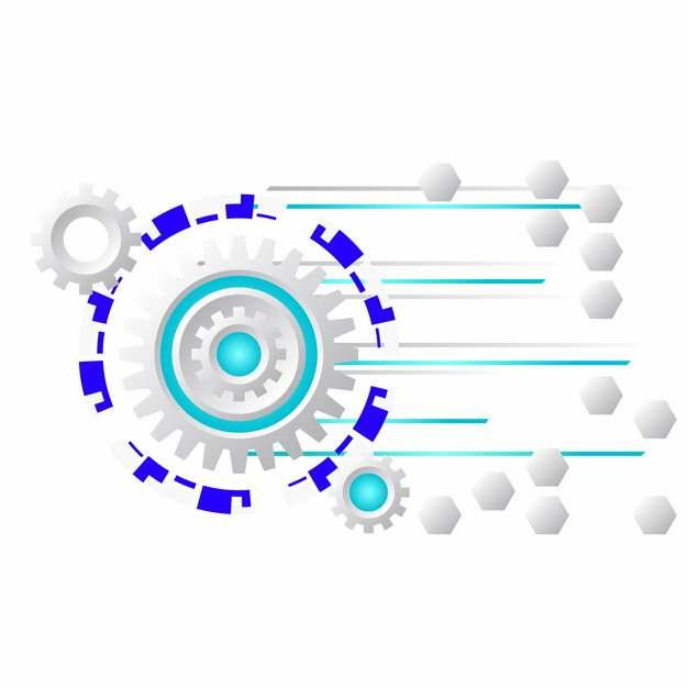 银色齿轮和蓝紫色多边形装饰342908图片素材