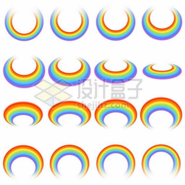 16个不同角度的七彩虹圆环图案719449矢量图片免抠素材