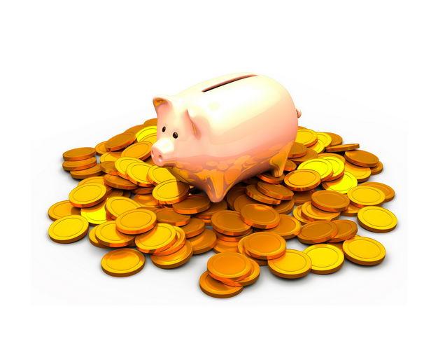 小猪储蓄罐放在一堆金币上633710PSD免抠图片素材 金融理财-第1张
