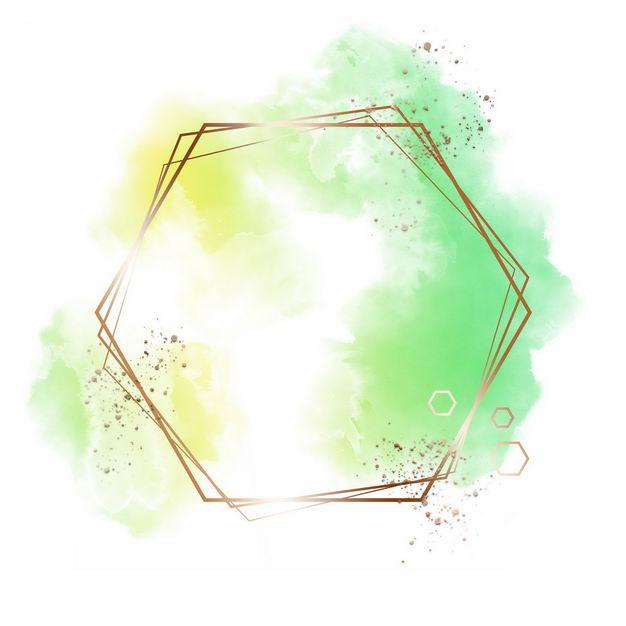 金色六边形边框和黄色绿色墨水渍装饰940428免抠图片素材