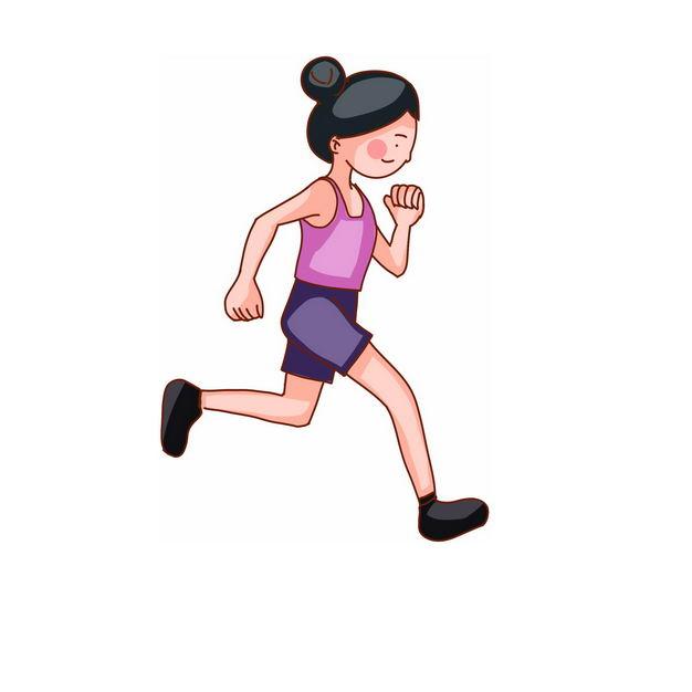 跑步的卡通女孩573566png免抠图片素材 人物素材-第1张