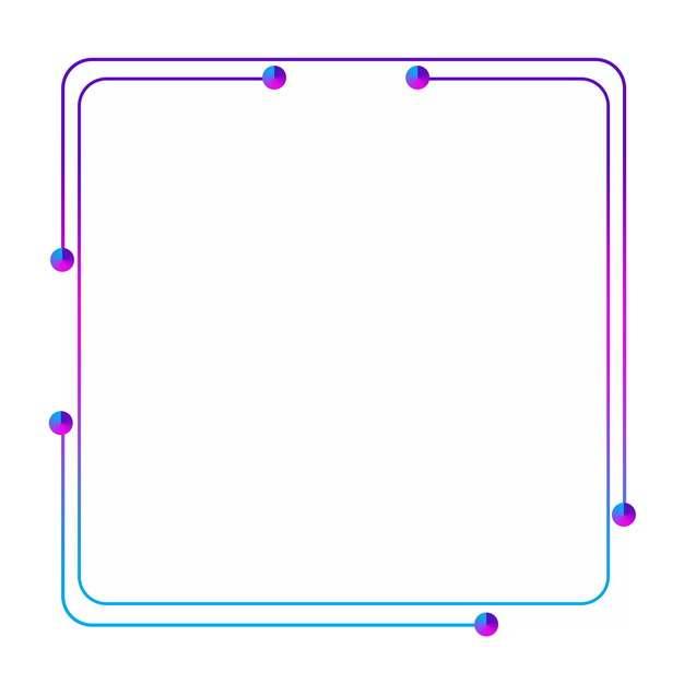 蓝色紫色双线条圆角方框270788PSD图片免抠素材
