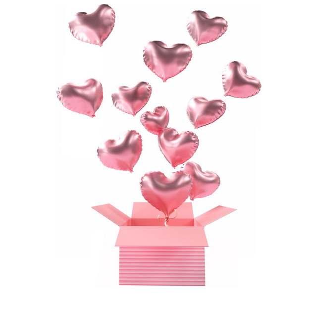 打开的粉色盒子中飞出来的粉色心形气球779168png图片免抠素材