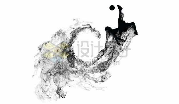 抽象创意足球运动员踢足球剪影烟雾效果418051图片素材
