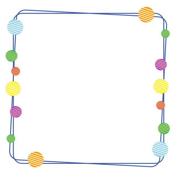 彩色圆形装饰的蓝色双线边框931990PSD图片免抠素材 边框纹理-第1张