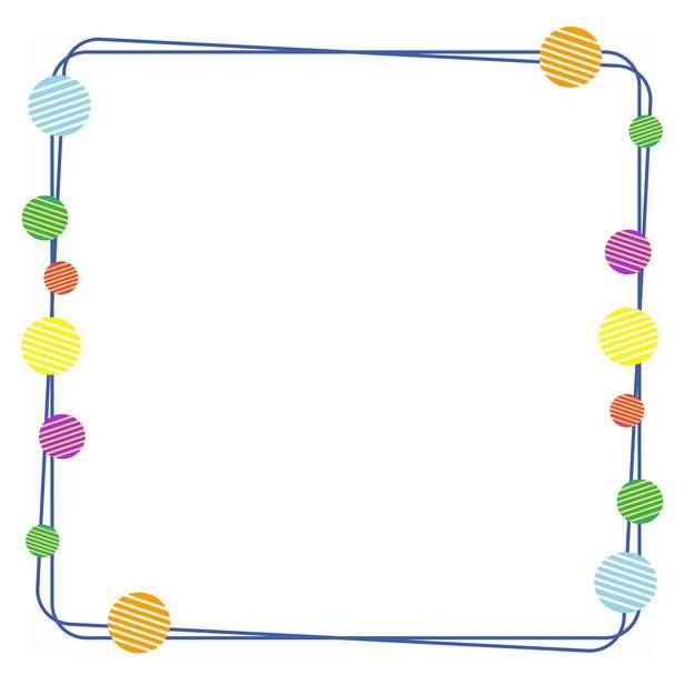 彩色圆形装饰的蓝色双线边框931990PSD图片免抠素材