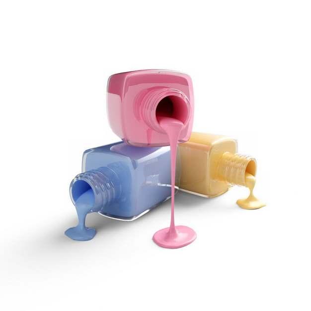 倒掉的三个化妆品玻璃瓶和里面流出的彩色液体856448png图片素材