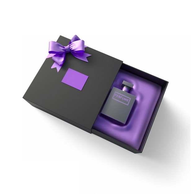 打开包装的精美黑色紫色礼物盒中的高档男士香水172618png图片免抠素材