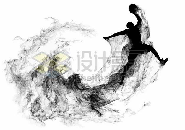 抽象创意篮球运动员打篮球剪影烟雾效果431236图片素材