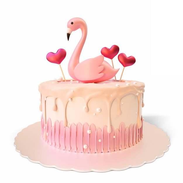 3D立体风格粉色蛋糕上的火烈鸟造型646227png图片素材