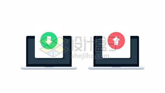 笔记本电脑上的上传和下载图标292061图片素材