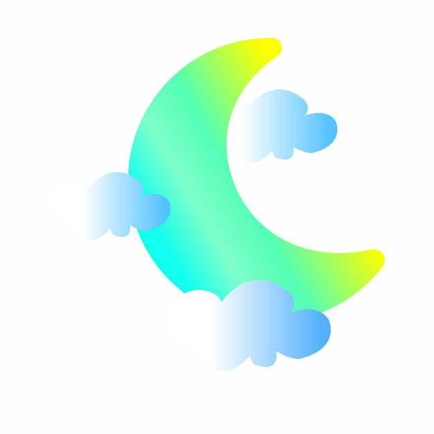 渐变色风格绿色月亮弯月和蓝色云朵306447png图片素材