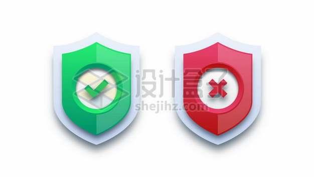 打着对号和错号的绿色红色盾牌图标701235图片素材