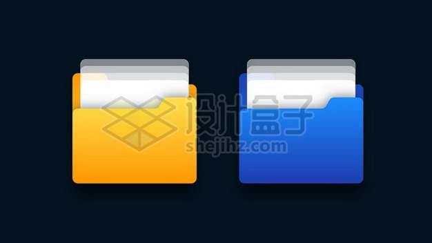 黄色和蓝色的文件夹图标512444图片素材