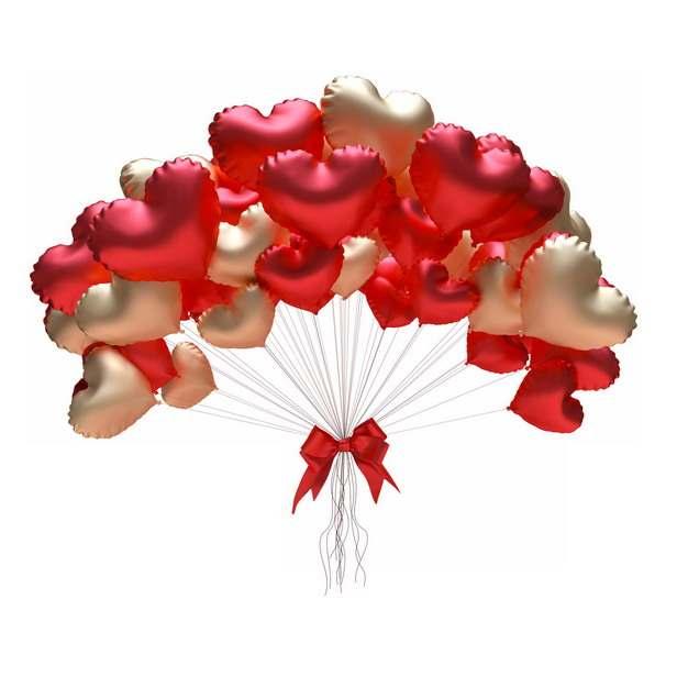 一捆红色金色心形气球情人节装饰773983png图片免抠素材