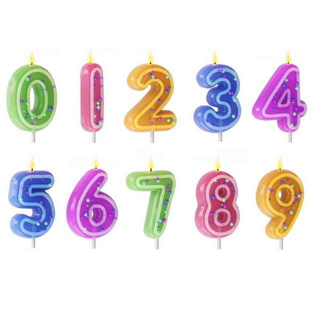 3D立体风格卡通生日蛋糕上的生日数字蜡烛217659png图片素材