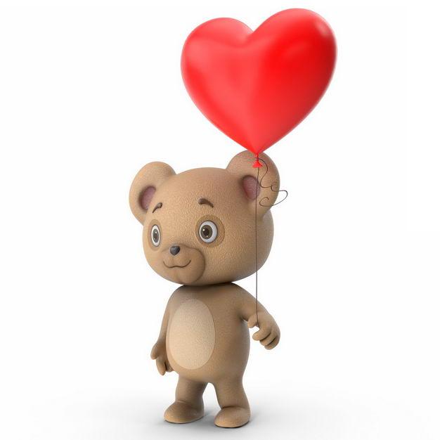 可爱的卡通玩具熊手上拿着红色心形气球297432免抠图片素材