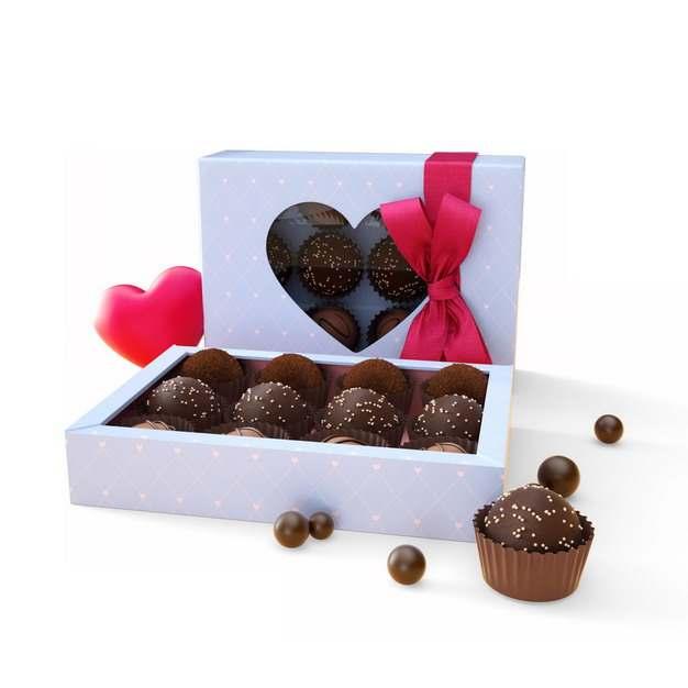 打开的淡蓝色礼盒中的精美巧克力475257png图片素材