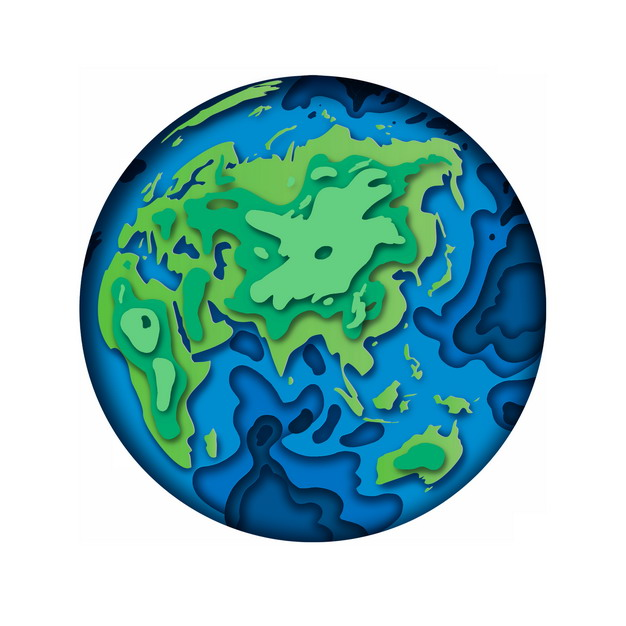 剪纸叠加风格地球图案824209PSD图片免抠素材 科学地理-第1张