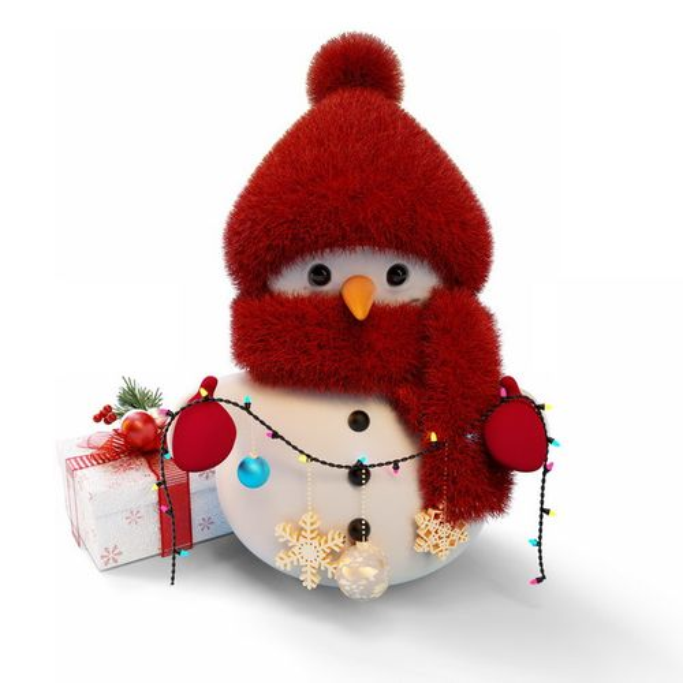 红色帽子和围巾的超可爱卡通雪人220310png图片素材