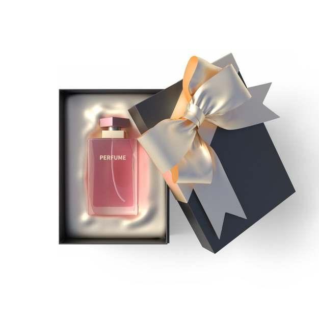 打开包装的精美黑色金色礼物盒中的高档香水402429png图片免抠素材