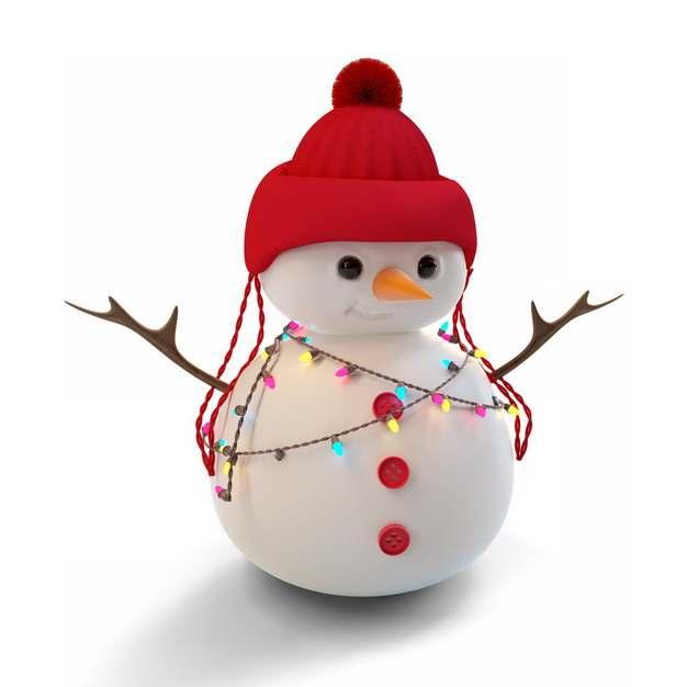 戴着红帽子的卡通雪人身上挂着彩灯202313png图片素材
