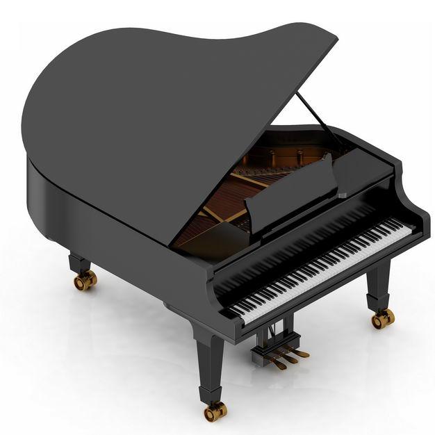 3D立体黑色三角钢琴音乐乐器4428765png图片免抠素材
