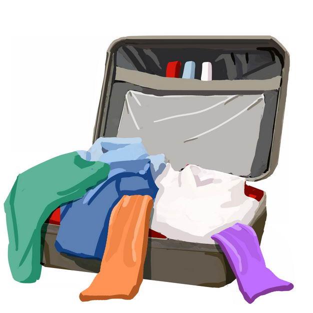 敞开的杂乱行李箱准备打包收拾物品987917免抠图片素材 生活素材-第1张