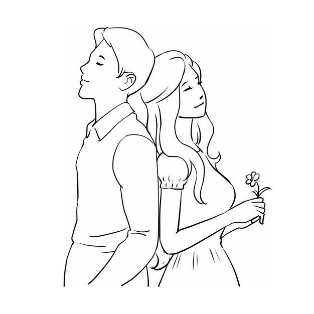 背靠背的情侣情人节手绘线条素描插画269221免抠图片素材 人物素材-第1张