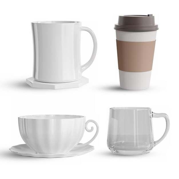 四款欧式英式咖啡杯茶杯陶瓷杯玻璃杯237192png图片素材