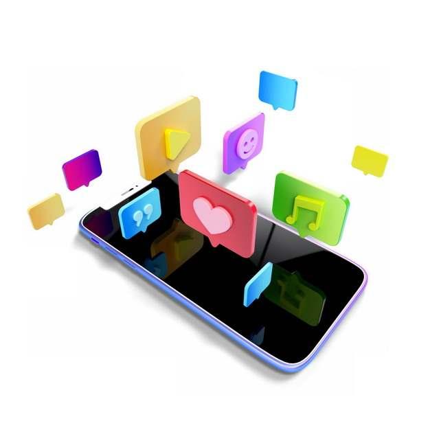 3D立体手机上显示的APP图标796141png图片素材