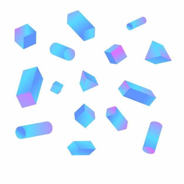 各种蓝紫色的立方体圆柱体等形状567041png图片素材