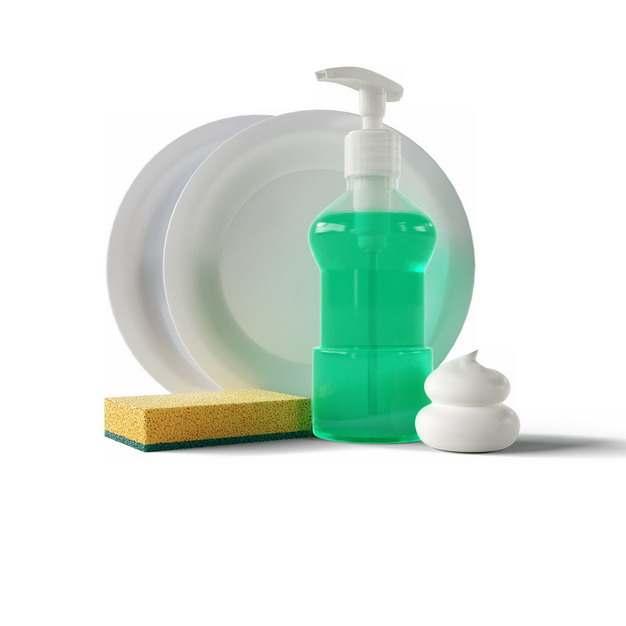 装满绿色洗涤剂的透明瓶子和白盘子以及海绵百洁布海绵擦393320png图片素材