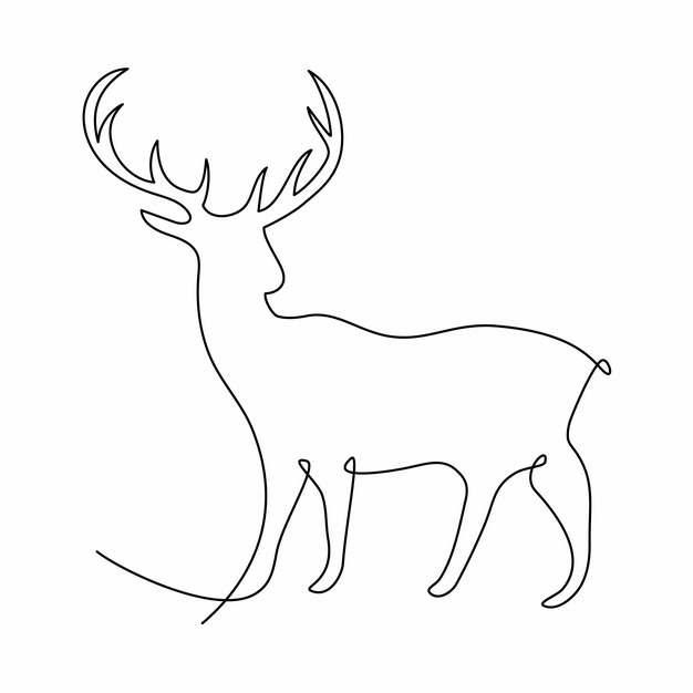 一根线条麋鹿手绘插画简笔画920711png图片素材