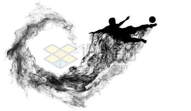 抽象创意足球运动员踢足球剪影烟雾效果142590图片素材