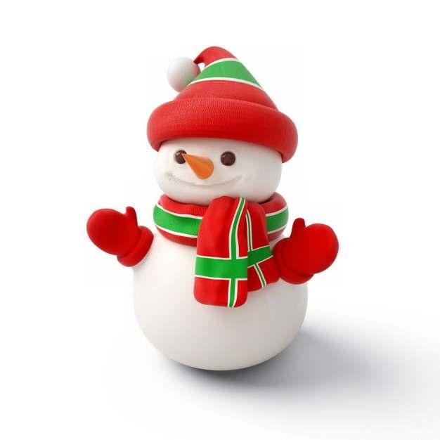 超可爱红绿色帽子和围巾手套的卡通雪人755856png图片素材