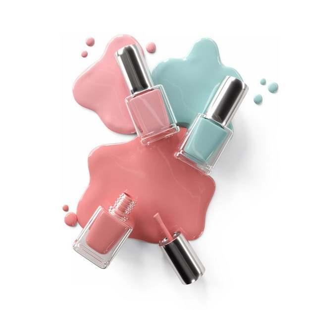 倒掉的红色蓝色指甲油化妆品瓶子606328png图片素材